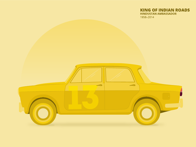 Ambassador Car Illustration flat color color clean memories graphic indian car car illustration design colour scheme adobe vector illustrator creative flat