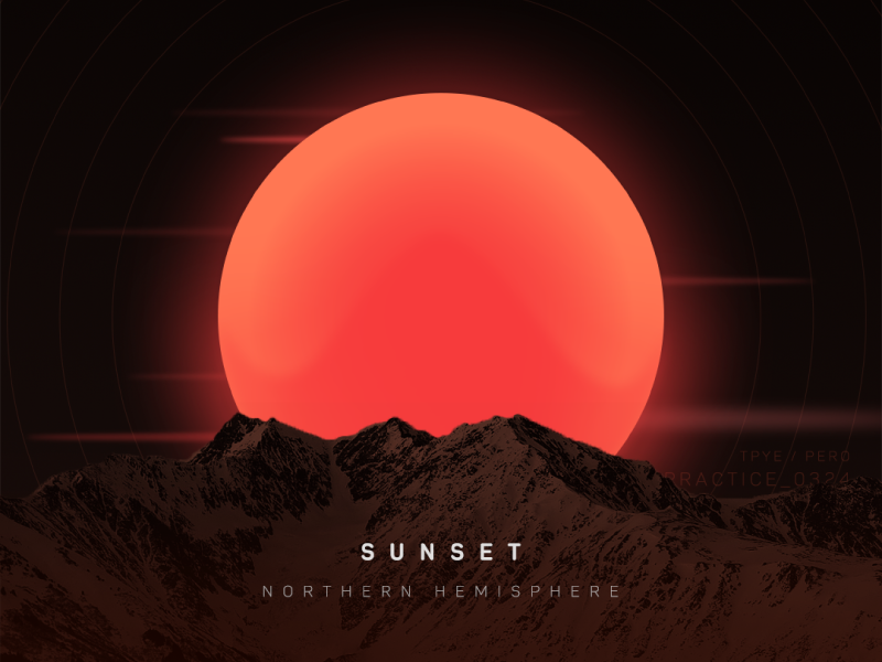 sunset of  Northern Hemisphere poster mountains sunset sun