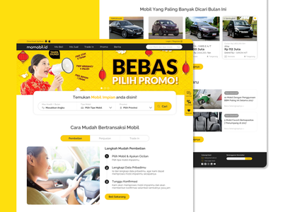 Pitch Design | Momobil - Buy and Sell Used Cars Homepage website momobil chrisensius indonesia ui ux salt automotive car pitching exploration