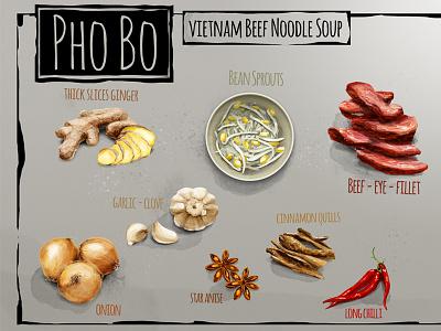 Phobo food illustrated illustration food drawing food drawing recipe vietnam phobo pho