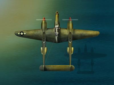 Lockheed P 38 Lightning assets mobile game world war wwii war plane p-38 lockheed