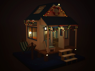 Have yourself a Merry Little Christmas  home house beach cabin 3d voxel xmas christmas