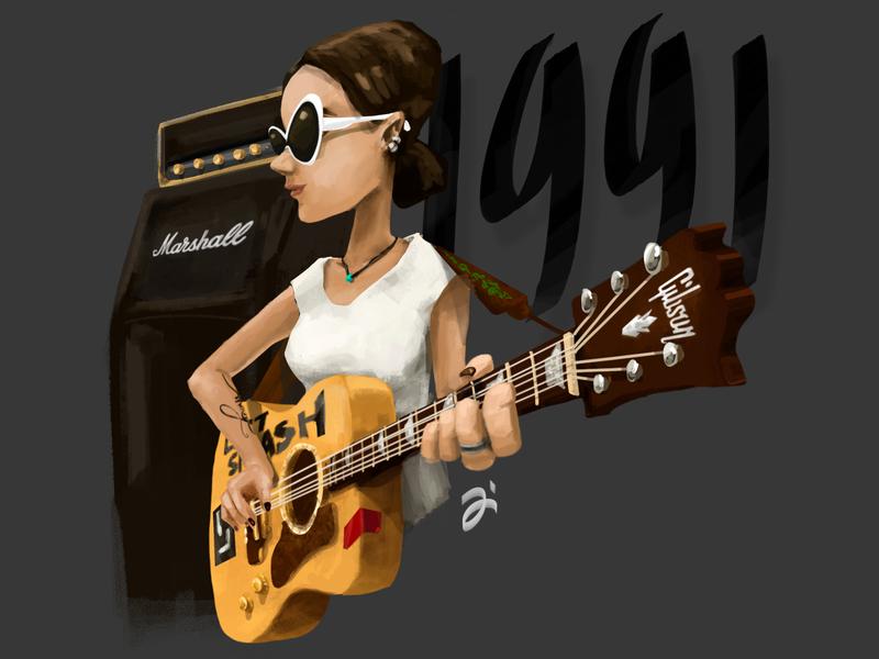 Lastsplash illustration marshall gibson rock and roll rock band guitar character character concept lastsplash boho 1991 grunge teenage chick