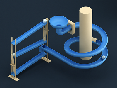 Marble Track toy track marble cinema4d vray render 3d