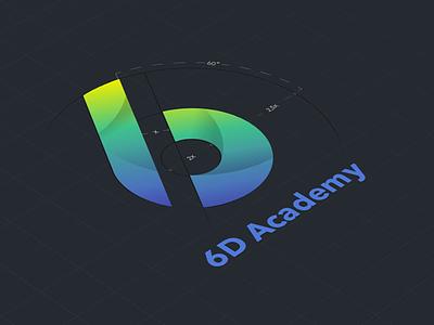 6D logomanual flat gradient academy branding logo logomanual identity fresh