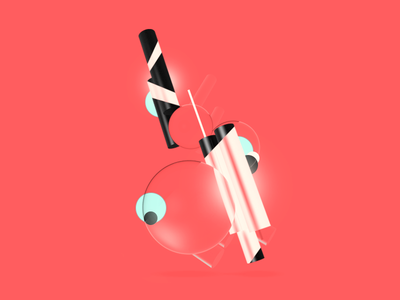 Experiment poster abstract 3d illustration minimal