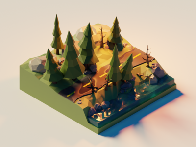 Low Poly Street in the Woods