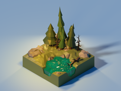 Low Poly Forest with small Lake