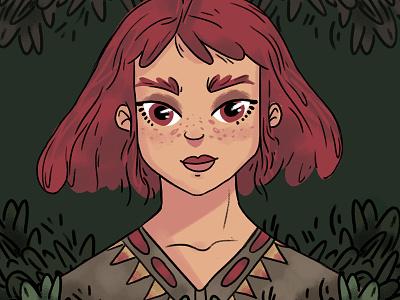 Tribal color girl design character drawing brush illustration
