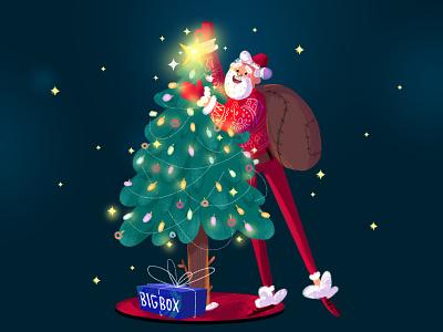 Merry Christmas! star vector art photoshop design character brush illustration gift box 2019 gift tree noel christmas merry santa