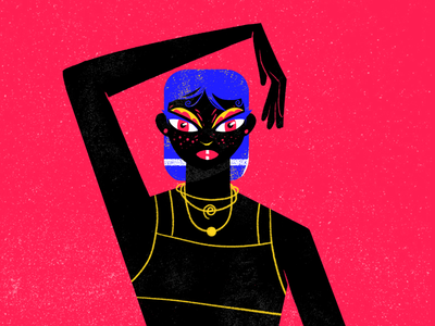 Pose black procreate colorful lgbti queen drag illustration character