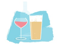 Wine and beer illustration