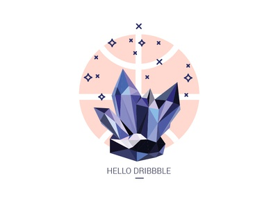 hello dribbble :) flat crystals poly low