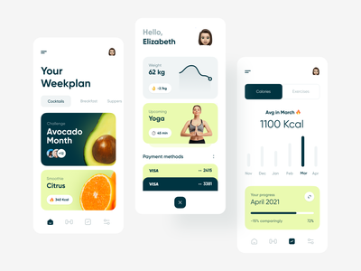 Healthy habits tracker selecto mobile ui ui design product design healthcare app home screen user avatar personal account payment methods navigation bar week calendar calories progress sport timer food list diet counter