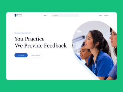 Teaching Medicine Landing page for healthcare platform benefits header search bar research feedback learn practice skill categories icons infographics branding healthcare education selecto logo benefits onboard users illustration animation motion landing page dashboard infographic chart