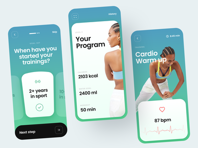 Fitness Coach Assistance app workout tracker ui design mobile ui calorie counter timer graph water balance steps onboarding questionnaire training quizz personal profile cardio workout excercise diet plan fitness app