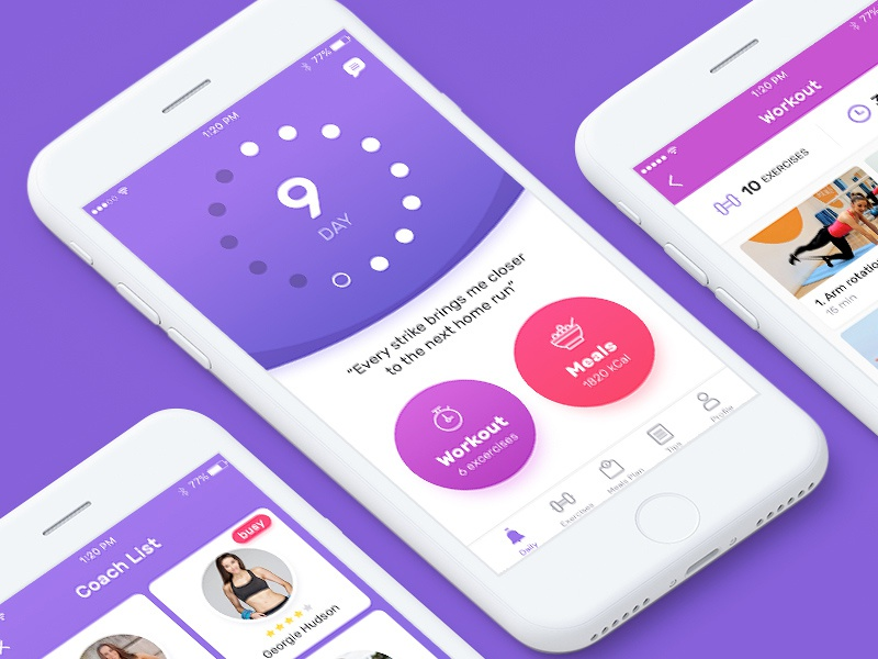 Fitness app saudi arabia ui ux workout exercise tracker selecto ui ux sport motivation quote meals diet calories profile icon heigh weight parameters training days calendar loading progress bar trainer coach cards week fitness program