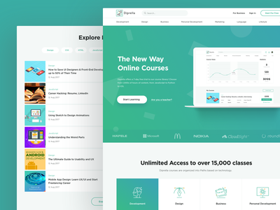 Diprella landing page registration header menu benefits onboard users gradient texture background sign up footer table content preview laptop adaptive banner linear icons set dashboard infographic chart explore lesson content online courses landing education landing page