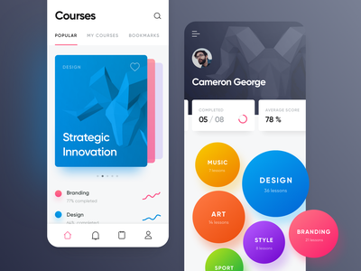 Courses Page search menu tapbar complete score bookmarks progress bar view branding design rating application clean interface topic bubble select stats piechart graph course education lesson dashboard infographic chart