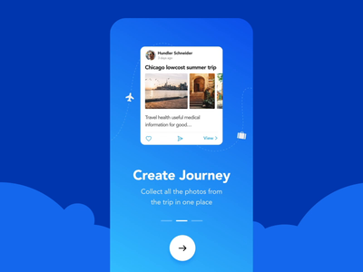 Travel app onboarding screens illustration animation motion benefits onboard users