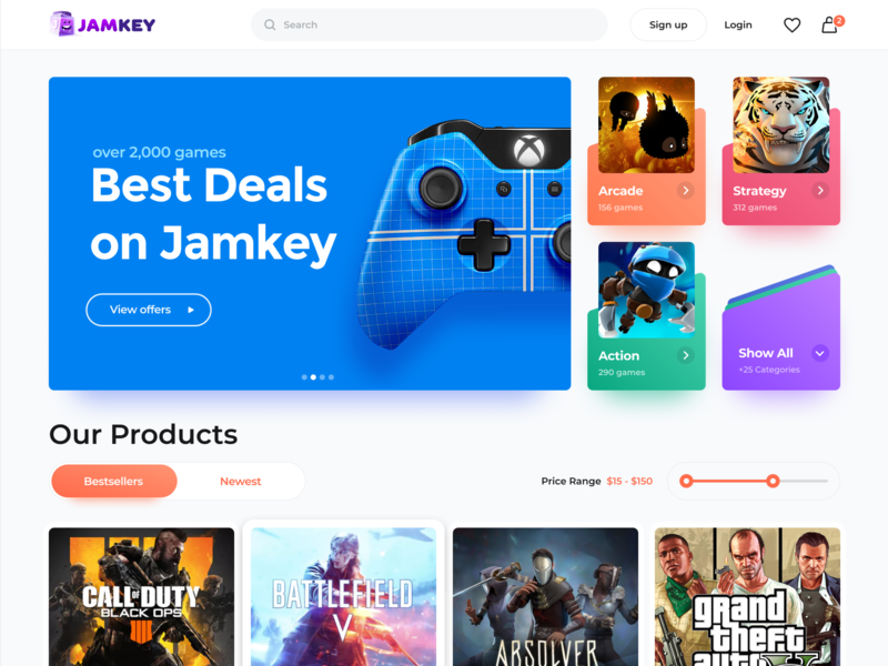 Jamkey Home login area website footer cart cards deck dropdown price range bar offer sort switcher play button footer basket favourite login header product filter range covers preview cards game xbox play station home page banner ecommerce