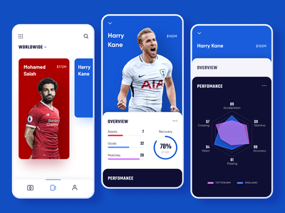 Fantasy Soccer Cards worldwide search profile swipe slider menu soccer football fantasy skill info interface player stats progress game sport cards dashboard infographic chart compare account item