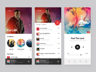 Music Player cards design top tracks list next song artist playlist scroll album covers preview music player