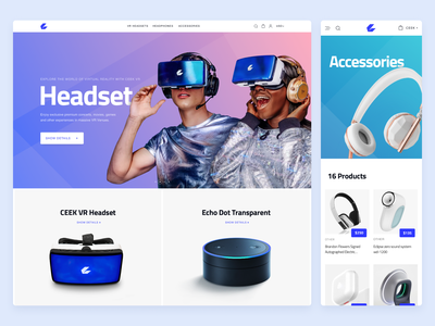 Tech e-commerce website design product buy shop item card price headset accessories menu navigation bar hero banner vr mobile adaptive responsive ecommerce website design