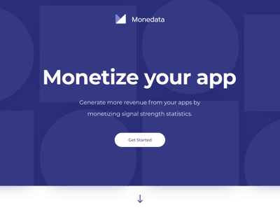 Monedata landing page calendar subscription payments coin transaction profile navigation bar menu motion content isometric hero banner animation landing page design