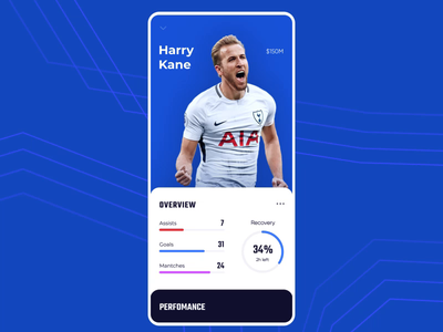 Soccer player profile game ui progress bar pie chart fantasy price swipe cards overview dashboard performance player football statistics soccer app