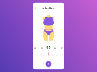 Measurements flow results workout highlight update body parts size scale swipe steps fitness woman tracking scales motion benefits onboard users animation motion statistics sport measurements