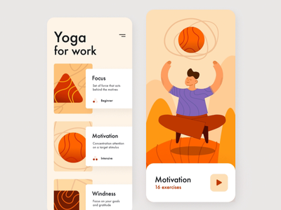 Guided yoga meditation app animation application list exercise motivation meditation yoga