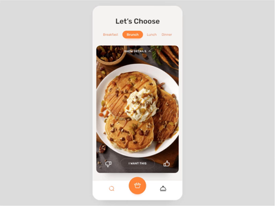 Interactive restaurant recommendations app favorites location restaurant animation flow profile tinder swipe cards delivery food