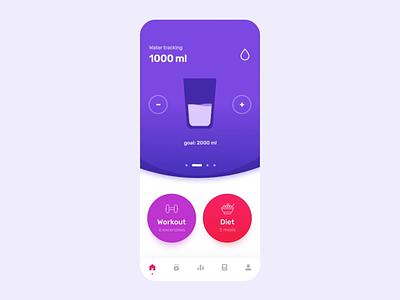 msfit dashboard slider calendar day distance calories profile progress steps tracking water food meals
