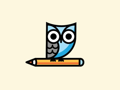 Owl  icon line vector owl pencil mark logo illustration design body bird animal