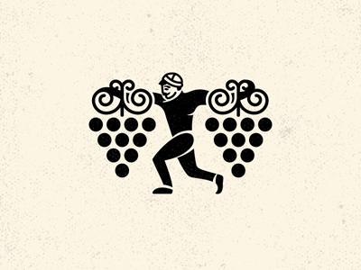 Man and grape georgian character tradition illustration winery logo character wine georgian grape man