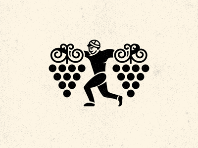 Man and grape georgian character tradition illustration winery logo character wine georgian grape man