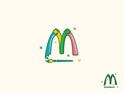 M Letter typography mcdonaldss m logo letter illustration brush art