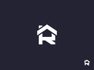 R typography symbol logomark logo mark repairing building rooms letter r