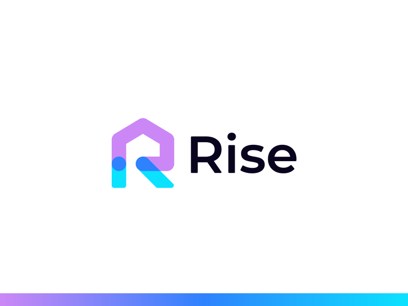 Rise | Logo Design geometric construction gradient icon identity roof direction up real estate branding modern luxury minimal arrow home house millennials r home r house r logo