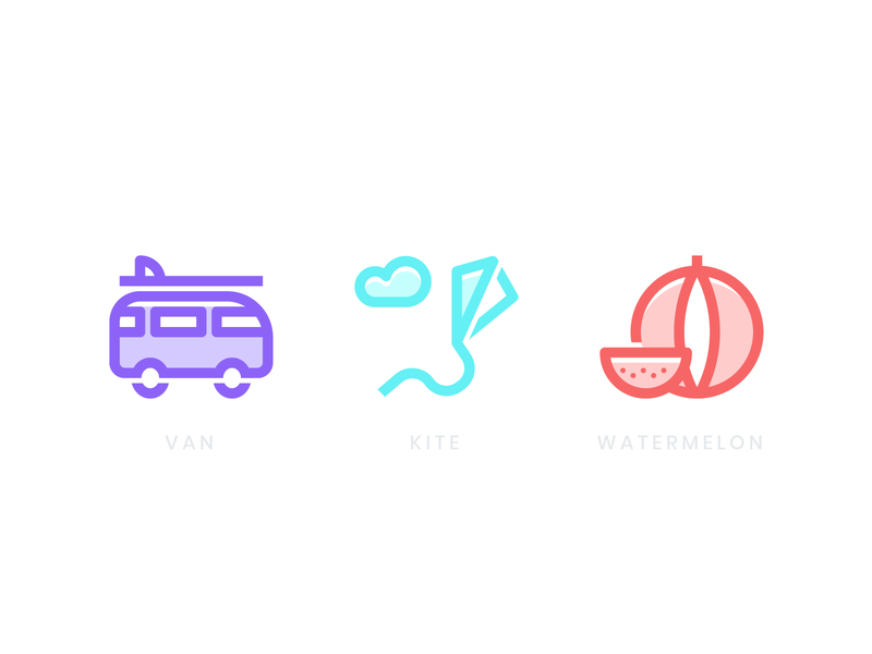 Summer Icons summer party summer camp summertime summer branding design wip logo color icon design iconset surfing cloud watermelon kite van icon travel icons branding illustration
