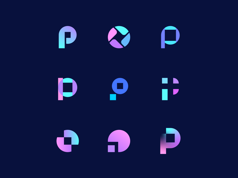 Pixo | Draft logo concepts gradient pattern circle square p letter logo behindthescene ideas online shop online merket shopify logo photoshop photographers camera objective p letter branding