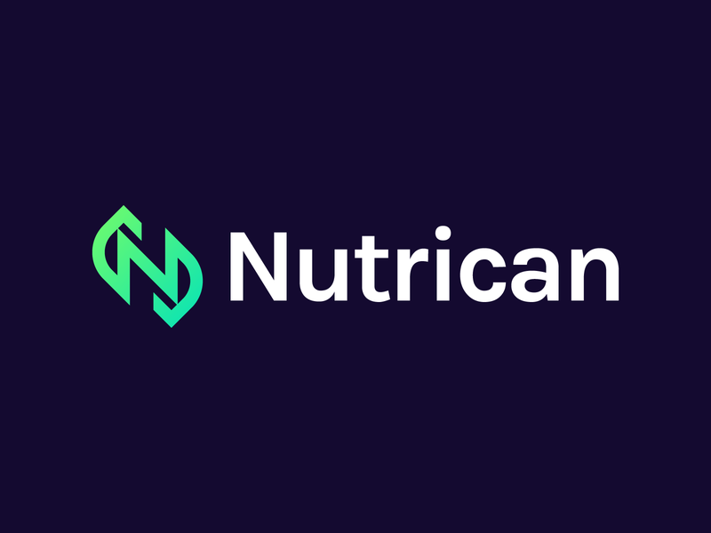Nutrican | Logo design leaves green gradient identity branding logotype unused for sale unused buy for sale mockup package mockup package design enamel pin identity branding and identity branding pattern logo branding logo design branding leaf pattern