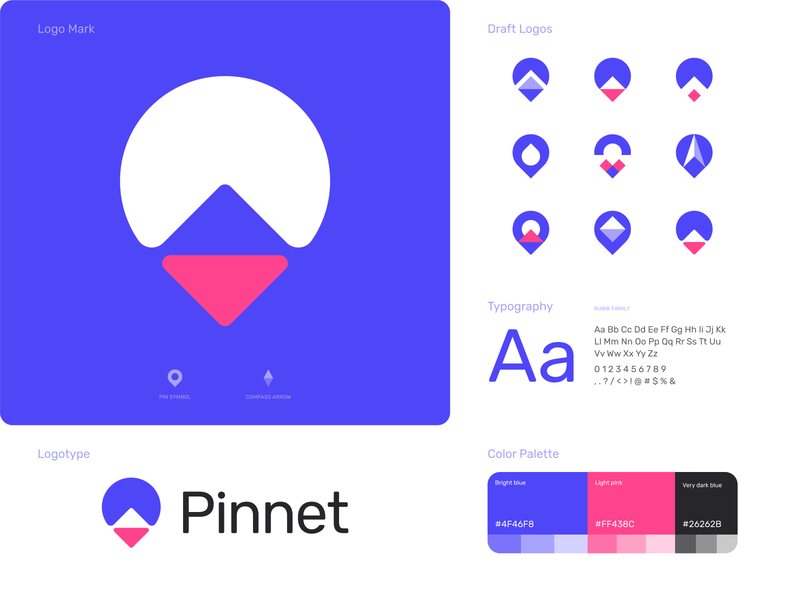 Pinnet | Final logo brandbook styleguide identity branding pink unused concept draft logo typography logo exploration color palette branding and identity branding pin location logo direction compass logo pin arrow logo