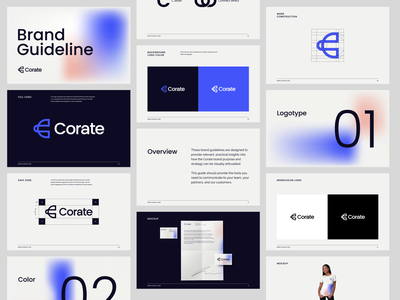 Corate | Brand Book branding design animation 2d logotype template gradient logo design styleguide brandbook c letter branding and identity logo design branding identity branding logo