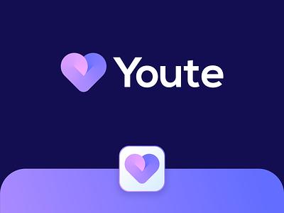 Youte | Logo design heart icon date app 2d art dating app love app branding and identity logo design branding logotype identity branding logo design branding