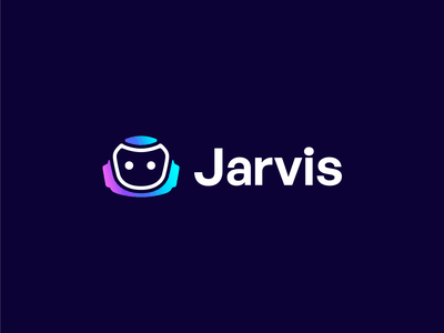 Jarvis   Logo design illustration 2d unused saas bright robot jarvis text copywriter artificial intelligence robotics robot logo head logo logo design branding identity branding logo design branding