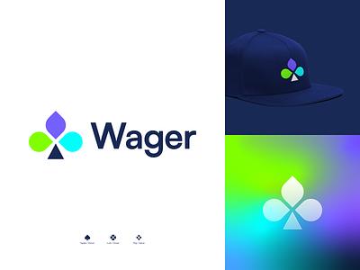 Wager | Logo design play logo clover casino gaming crypto blockchain game logo logo illustration design logotype branding and identity logo design branding identity identity branding logo design branding