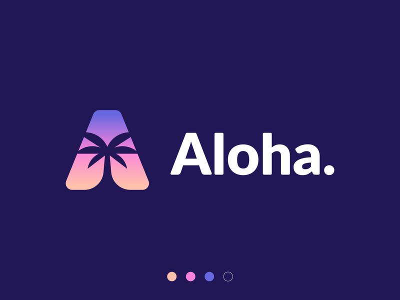 Aloha. bright florida surf summer party sun sunset marketing a logo a letter handlettering branding logo hawaiian palmtree hawaii hawaii logo palm logo