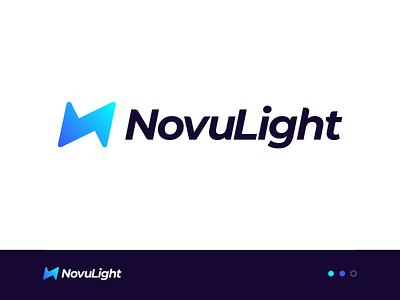 NovuLight Logo Design n logo logo designs n letter identity design identity branding mark symbol logo light logo design bolt logo light bolt light logo
